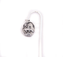 Load image into Gallery viewer, end of the trail bookmark book pages pewter dangle charm of sculpture by James Earl Fraser souvenir from the national cowboy and western heritage museum detail of the charm