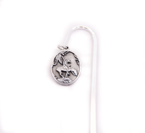 end of the trail bookmark book pages pewter dangle charm of sculpture by James Earl Fraser souvenir from the national cowboy and western heritage museum detail of the charm