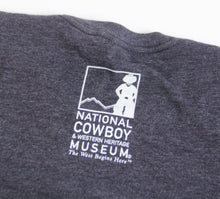 Load image into Gallery viewer, end of the trail t-shirt tee shirt charcoal grey short sleeve blend cotton polyester no shrinking sculpture by James Earl fraser unisex sizing souvenir of the national cowboy and western heritage museum logo on the back neck of shirt