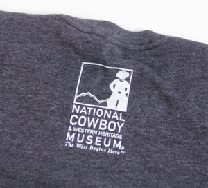 end of the trail t-shirt tee shirt charcoal grey short sleeve blend cotton polyester no shrinking sculpture by James Earl fraser unisex sizing souvenir of the national cowboy and western heritage museum logo on the back neck of shirt