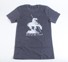 Load image into Gallery viewer, end of the trail t-shirt tee shirt charcoal grey short sleeve blend cotton polyester no shrinking sculpture by James Earl fraser unisex sizing souvenir of the national cowboy and western heritage museum
