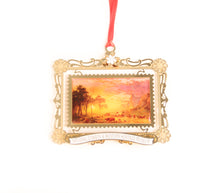 Load image into Gallery viewer, emigrants crossing the plains ornament 2018 annual christmas ornament from the national cowboy museum store albert bierstadt painting snowflakes