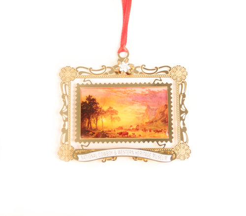 emigrants crossing the plains ornament 2018 annual christmas ornament from the national cowboy museum store albert bierstadt painting snowflakes
