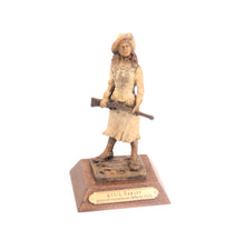 Load image into Gallery viewer, Annie Oakley bronze sculpture small desk sized little sure shot wild west lady replica ornament