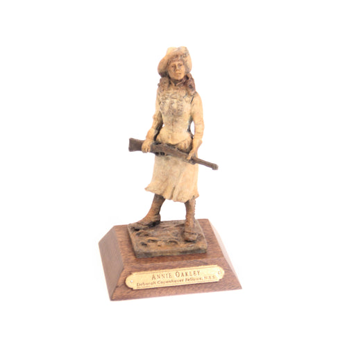 Annie Oakley bronze sculpture small desk sized little sure shot wild west lady replica ornament