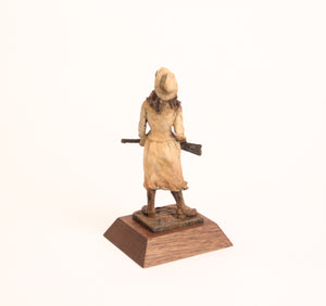 Annie Oakley bronze sculpture small desk sized little sure shot wild west lady replica ornament back