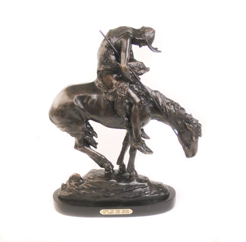 End of the Trail, Large Bronze on Black Marble Base