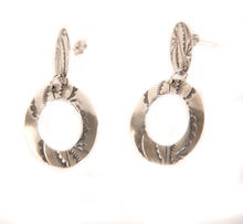 Load image into Gallery viewer, stamped circle dangle earrings sterling silver Navajo Native American made Teller Indian Jewelry circular stamped jewelry for women western