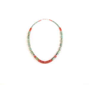 Turquoise and Apple Coral Necklace