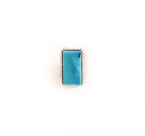 Rectangle Kingman Turquoise Ring