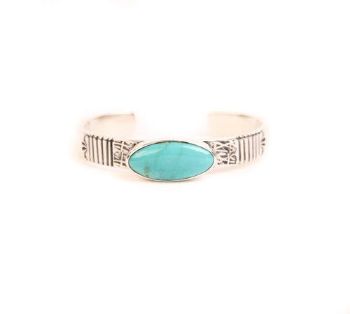 Mary Teller Cuff with Turquoise Stone