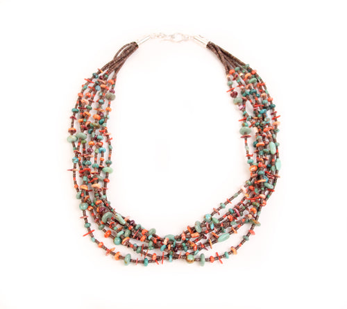 Teller Seven-Strand Necklace, Heishi and Turquoise