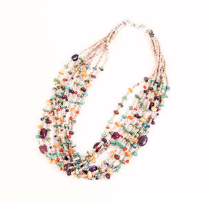 Teller Nine-Strand Necklace, Heishi and Multi Stone
