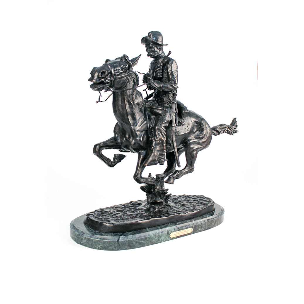Trooper of the Plains statue sculpture replica bronze by Frederic Remington cavalry soldier on horseback