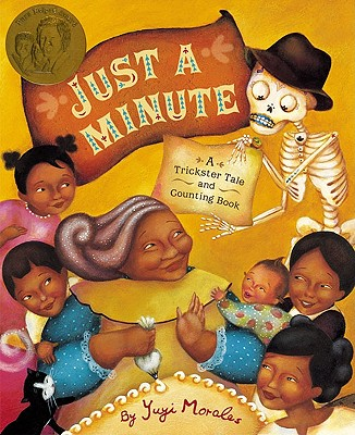 just a minute a trickster tale and counting book in spanish and english about grandma Beetle and a skeleton