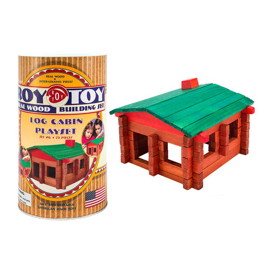 log cabin building set construction linking logs interlocking toys for kids real wood american made fun 73 pieces