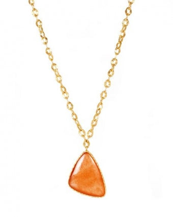 Long Drop Necklace with Orange Quartz