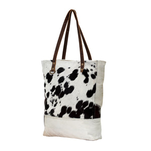 Myra handbag tote leather hairon cowhide purse women black and white western gift