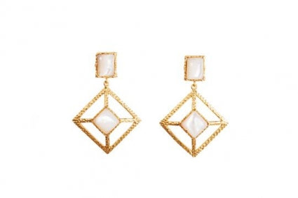 Miloxs earrings pearl gold 18k plated hypoallergenic casual cocktail dress look Christina Greene jewlery