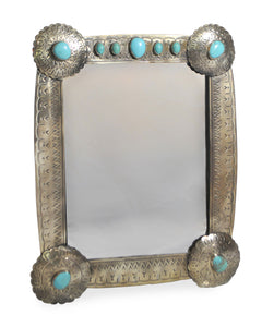 Stamped Mirror with Turquoise