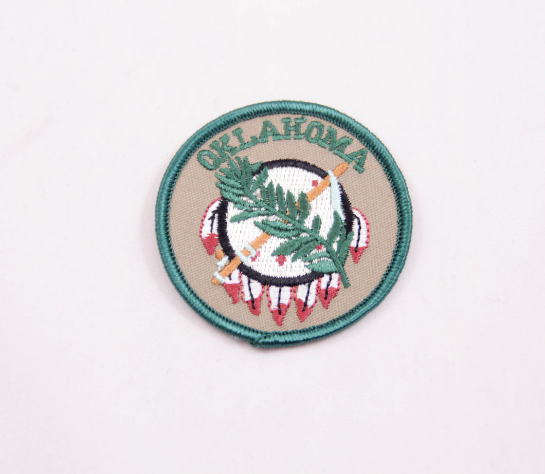osage shield patch iron on for denim jacket or backpack Oklahoma state flag souvenir