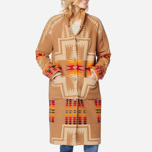 Load image into Gallery viewer, Pendleton woolen mills 1930s archive coat jacquard harding tan wool heavy winter jacket long women red orange yellow tribal print front