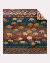Load image into Gallery viewer, Prairie rush hour crib blanket Pendleton Woolen Mills american made wool bison buffalo children kids earth tones navy side