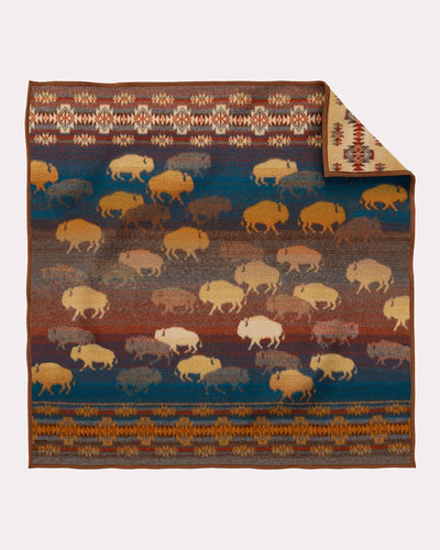 Prairie rush hour crib blanket Pendleton Woolen Mills american made wool bison buffalo children kids earth tones
