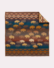 Load image into Gallery viewer, prairie rush hour throw blanket twin sized brown and blue buffalo bison for the home blue back side