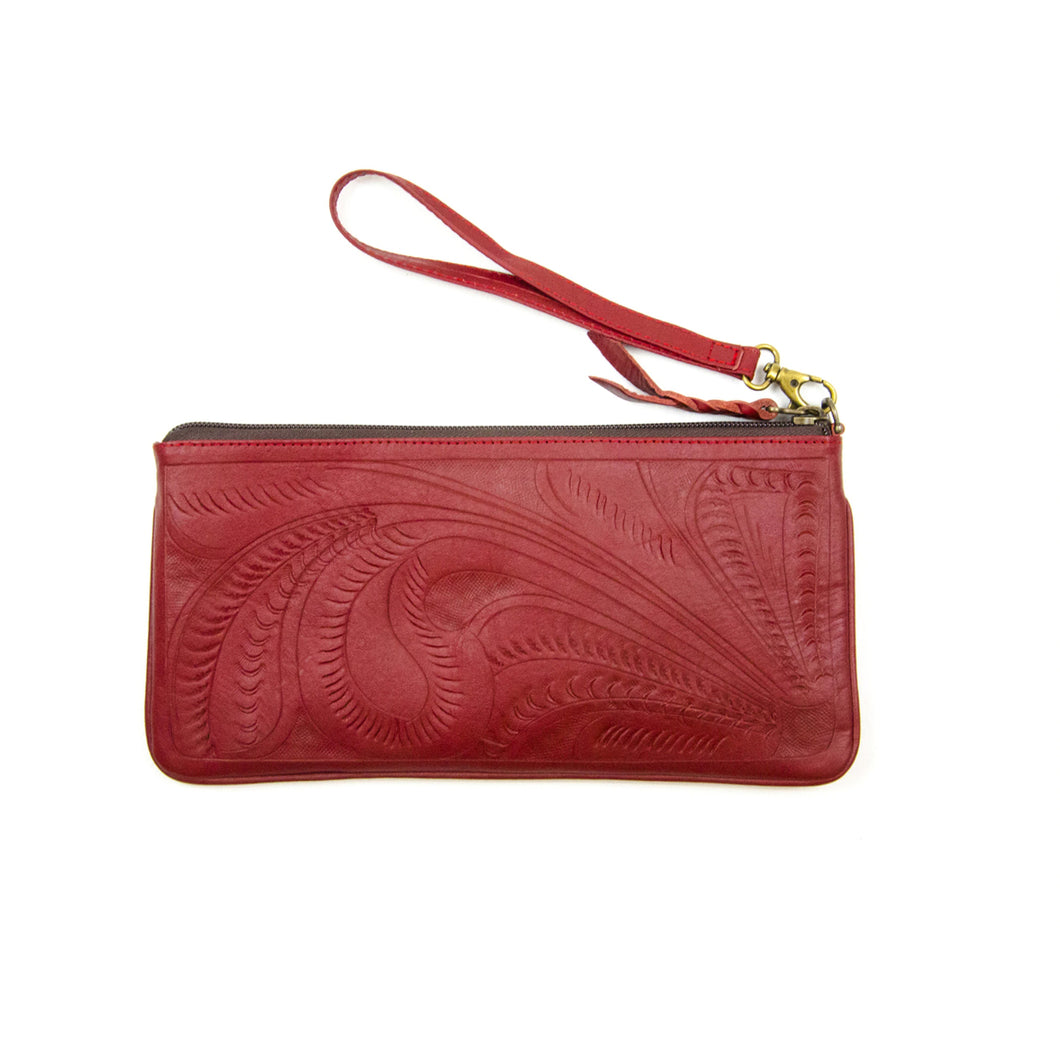 Tooled Leather Wristlet, Red
