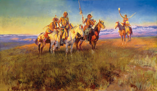 Charles M. russell cowboy artist Red Man's Wireless painting print wall art western Native Americans on horseback