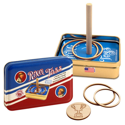 ring toss game nostalgia for families and kids vintage tin container travel friendly