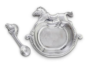 rocking horse keepsake children's dish and spoon set arthur court vagabond house silver aluminum