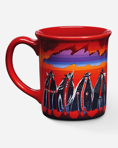 Pendleton woolen mills rodeo sisters mug coffee tea warm beverage red sunset native american women horses horseback