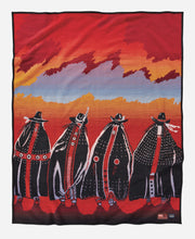 Load image into Gallery viewer, Rodeo Sisters robe red sunset Susana Santos legacy design blanket collection collector's items women horseback front