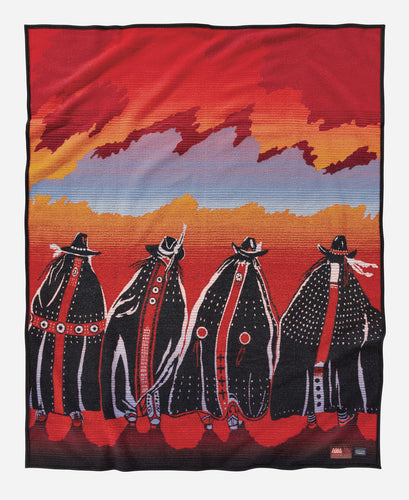 Rodeo Sisters robe red sunset Susana Santos legacy design blanket collection collector's items women horseback front