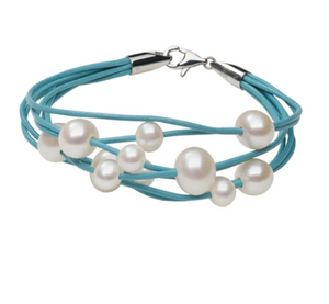 teton mountaineering scatter bracelet pearls scattered about turquoise Pearls by Shari jewelry for women multi strand
