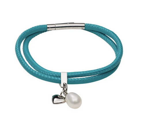 teton mountaineering double wrap bracelet with nappa leather in turquoise color with pearl charm and heart charm made by Pearls by Shari