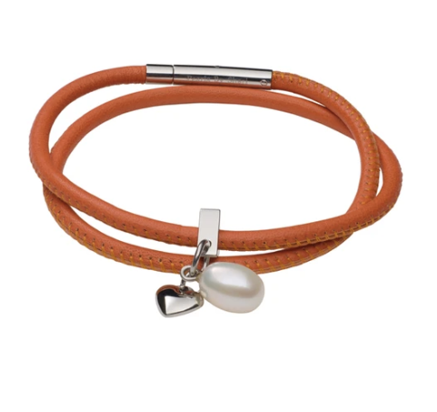 teton mountaineering double wrap bracelet nappa leather orange with pearl charm and heart charm made by Pearls by Shari jewelry for women