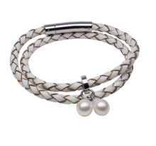 Load image into Gallery viewer, teton mountaineering braided leather bracelet white pearls charms white freshwater pearl bracelet or choker Pearls by Shari jewley for women