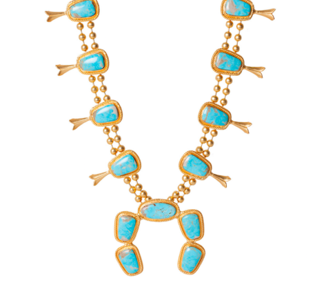 Christina Greene Southwestern squash blossom necklace 18k gold plated nickel free brass kingman turquoise arizona modern jewelry necklace