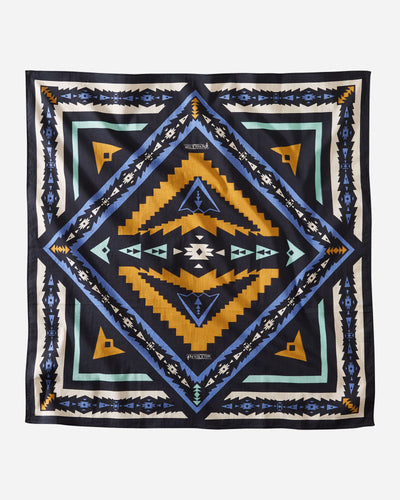 pendleton jumbo bandana sierra ridge bold colors navy blue aqua blue yellow gold necktie hair covering face covering pendleton woolen mills