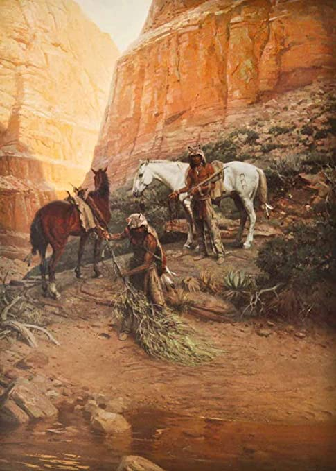 The wolfmen by Tom Lovell native americans with wolf skins disguising tracks replica print souvenir signed artwork