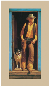 Two's Comany Duane Byers man and dog cowboy ranch dog friendship loyalty artwork print