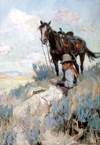 When Things Are Quiet by Philip R. Goodwin moment of repose for a cowboy and his horse friends with Charles Russell western life painter