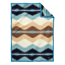 Load image into Gallery viewer, Pendleton Woolen Mills Saguaro crib blanket throw aqua cactus desert Southwest symbol recognize early design american made wool soft