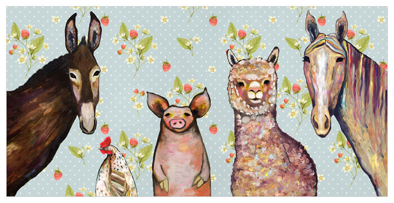 alpaca and pals horse pig donkey in strawberry patch background canvas wall art giclee