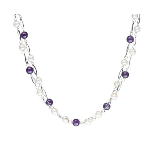 Freshwater Endless Pearl Necklace, Amethyst & White Pearls