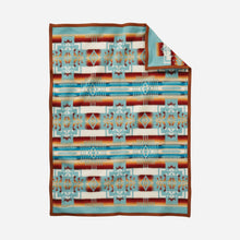 Load image into Gallery viewer, Pendleton Woolen Mills crib blanket Chief Joseph aqua baby Nez Perce warrior strength integrity honor Native American soft wool children gift holiday warmth back