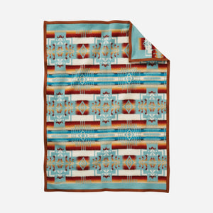 Pendleton Woolen Mills crib blanket Chief Joseph aqua baby Nez Perce warrior strength integrity honor Native American soft wool children gift holiday warmth back